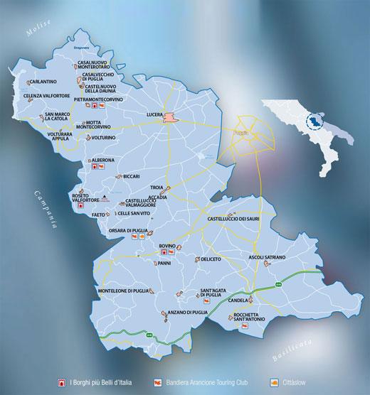 Cartina Comuni Meridaunia